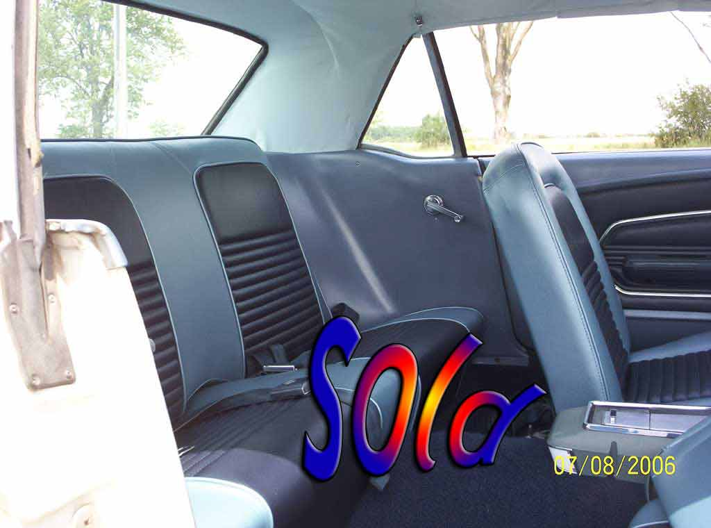 Ford Mustang 1967 coupe interior backseat view
