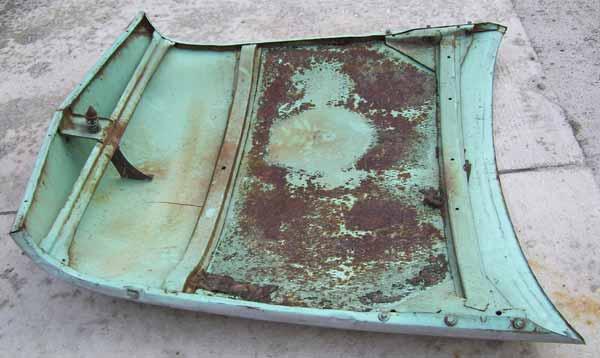 inside ford hood auto 1954