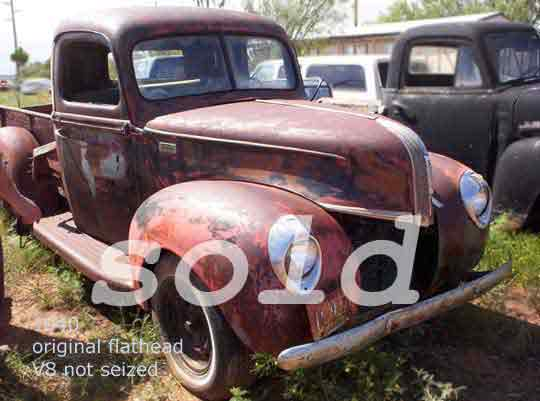 antique ford pickup 1940 origianl V8 flathead motor not seized