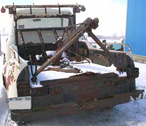 wrecker tow truck 1955 cab and bed , winch view