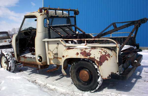 wrecker tow truck 1955 cab and bed , bed back driver side view