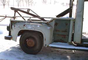 1955 wrecker tow truck bed and cab  bed view