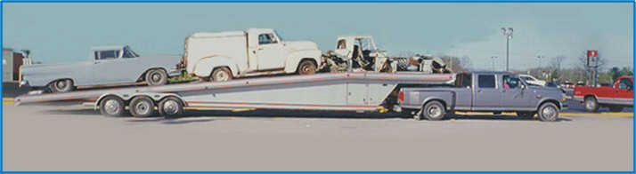 You never know what may be on our trailer on the way home, (left to right) 1958 Ford Rancharo,  a 1952 Chevy Good Humour Ice Cream truck and a 1958 Edsel front clip  Picture  of trailer load of restorable vehicles and parts,